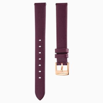 Cinturino per orologio 14mm, Pelle, rosso scuro, placcato color oro rosa - Swarovski, 5484610