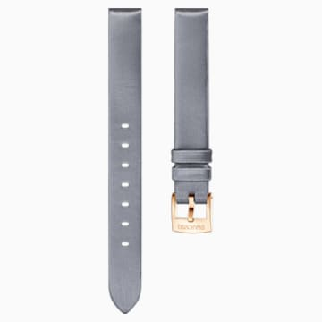 14mm Watch strap, Silk, Grey, Rose-gold tone plated - Swarovski, 5484613