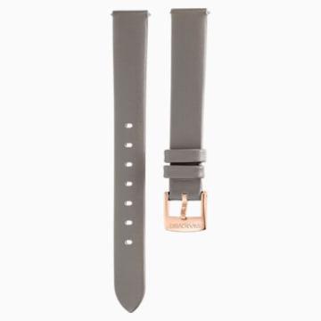 13mm pásek k hodinkám, kožený, tmavošedá barva, PVD s odstínem v barvě Champagne - Swarovski, 5485042