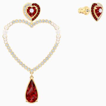 Black Baroque Hoop Pierced Earrings, Multi-colored, Gold-tone plated - Swarovski, 5485657