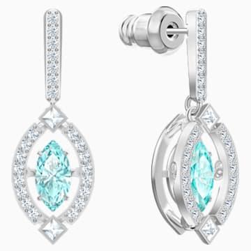 Swarovski Sparkling Dance 穿孔耳環, 綠色, 鍍白金色 - Swarovski, 5485723