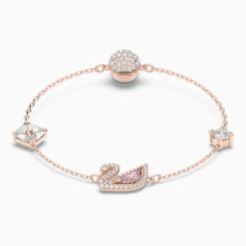 Dazzling Swan 手链, 彩色设计, 镀玫瑰金色调 - Swarovski, 5485876