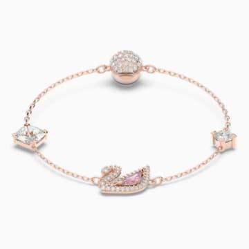 Dazzling Swan 手链, 彩色设计, 镀玫瑰金色调 - Swarovski, 5485877