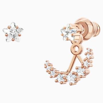 Boucles d'Oreilles « Ear-Jacket » Moonsun, Blanc, Métal doré rose - Swarovski, 5486351