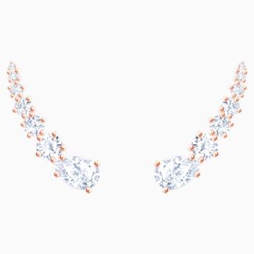Vpichovací náušnice MoonSun Penélope Cruz, bílé, pozlacené růžovým zlatem - Swarovski, 5486352