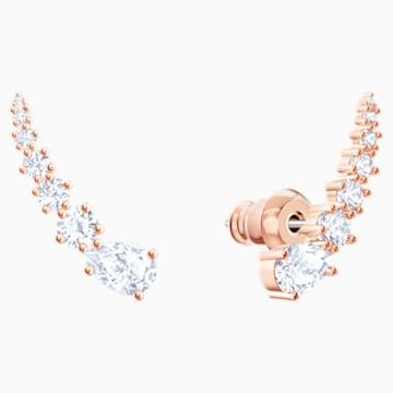 Penélope Cruz Moonsun 穿孔耳環, 白色, 鍍玫瑰金色調 - Swarovski, 5486352