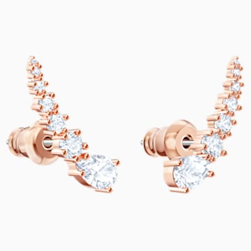 Penélope Cruz Moonsun Pierced Earrings, White, Rose-gold tone plated - Swarovski, 5486352