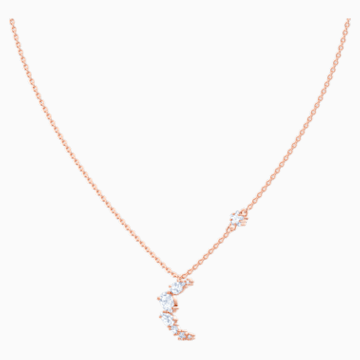 Penélope Cruz Moonsun Necklace, White, Rose-gold tone plated - Swarovski, 5486357
