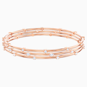 Parure de bracelets-joncs Moonsun, Blanc, Métal doré rose - Swarovski, 5486623