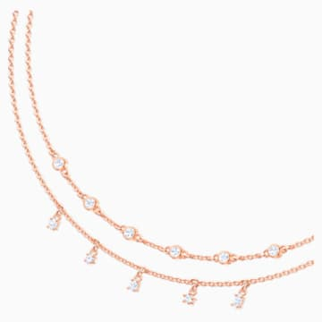 Penélope Cruz Moonsun Double Necklace, White, Rose-gold tone plated - Swarovski, 5486647