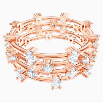 Prsten se shluky MoonSun Penélope Cruz, bílý, pozlacený růžovým zlatem - Swarovski, 5486806
