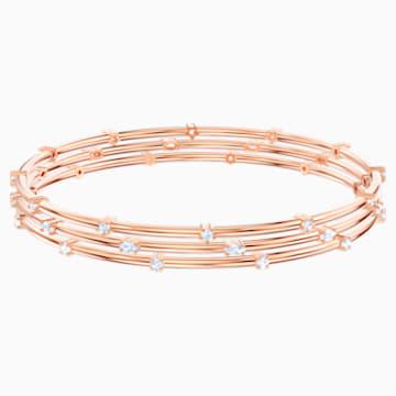 Parure de bracelets-joncs Moonsun, Blanc, Métal doré rose - Swarovski, 5486807