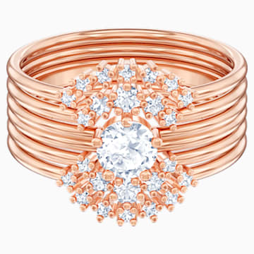 Penélope Cruz Moonsun 可叠戴戒指, 白色, 镀玫瑰金色调 - Swarovski, 5486811