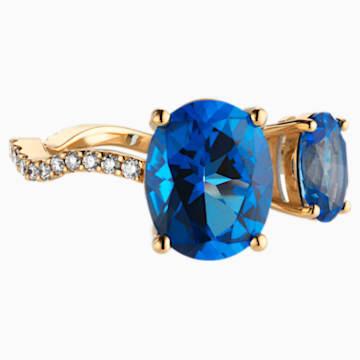 Arc-en-ciel Ring, Caribbean Blue, 18K Yellow Gold, Size 55 - Swarovski, 5487218
