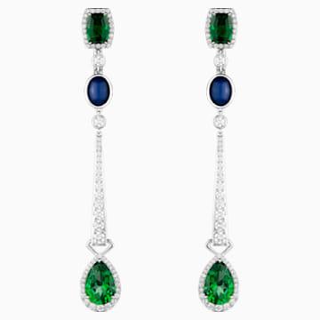 Rainforest Green Drop Earrings, Rainforest Green Treated Swarovski Genuine Topaz, 18K White Gold - Swarovski, 5487281