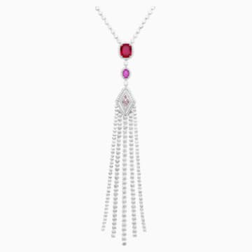 Flowering Fuchsia Pendant Necklace, Swarovski Created Diamonds & Swarovski Created Ruby, 18K White Gold - Swarovski, 5487289