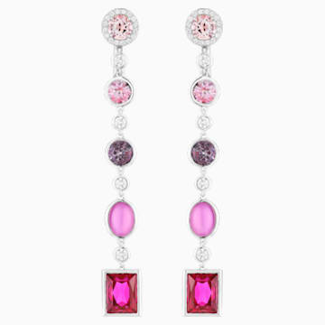 Flowering Fuchsia Earrings, Swarovski Created Ruby & Pink Treated Swarovski Genuine Topaz, 18K White Gold - Swarovski, 5487293