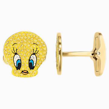 Looney Tunes Tweety Manschettenknöpfe, gelb, Vergoldet - Swarovski, 5488598
