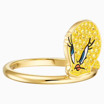 Looney Tunes 翠兒 圖形戒指, 黃色, 鍍金色色調 - Swarovski, 5488600