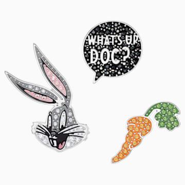Sada spon na kravatu Looney Tunes Bugs Bunny, Vícebarevné, Rhodiem pokovené - Swarovski, 5488791