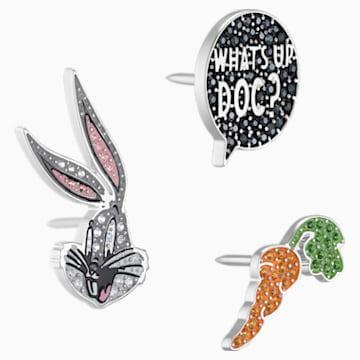 Conjunto de alfileres de corbata Looney Tunes Bugs Bunny, multicolor, Baño de Rodio - Swarovski, 5488791
