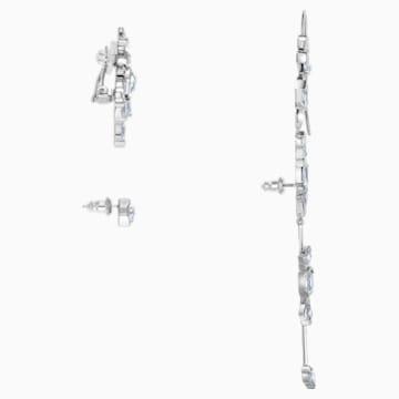 Pendientes Ear Cuff Ice Crack, blanco, Baño de Rutenio - Swarovski, 5489075
