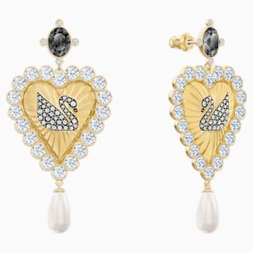 Vintage Swan 水滴形穿色耳環, 多色設計, 鍍金色色調 - Swarovski, 5489221