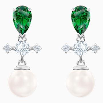 Orecchini a goccia a buco Perfection, verde, Placcatura rodio - Swarovski, 5489440