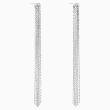 Fit Pierced Tassell Earrings, White, Rhodium plated - Swarovski, 5490190