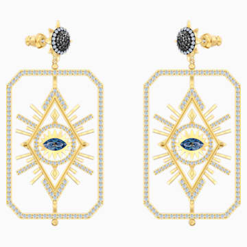 Tarot Magic Pierced Earrings, Multi-coloured, Gold-tone plated - Swarovski, 5490920