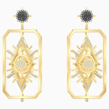 Tarot Magic 穿孔耳環, 多色設計, 鍍金色色調 - Swarovski, 5490920