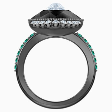 Black Baroque Motif Ring, Multi-coloured, Ruthenium plated - Swarovski, 5490976