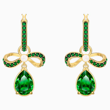 Black Baroque Hoop Pierced Earrings, Green, Gold-tone plated - Swarovski, 5490978