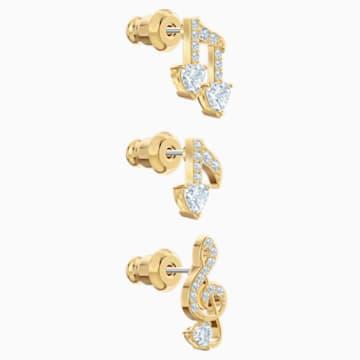 Zestaw kolczyków sztyftowych Pleasant, biały, w odcieniu złota - Swarovski, 5491659