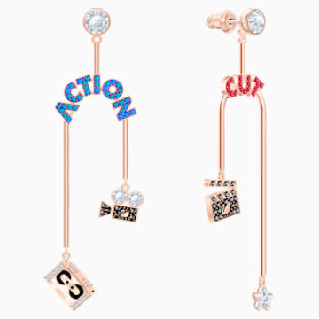 Play Mobile Pierced Earrings, Multi-coloured, Rose-gold tone plated - Swarovski, 5492812