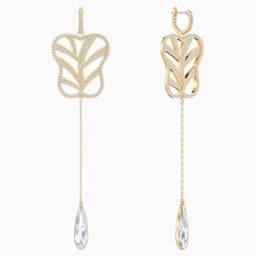 My Hero Fan Pierced Earrings, White, Gold-tone plated - Swarovski, 5492862