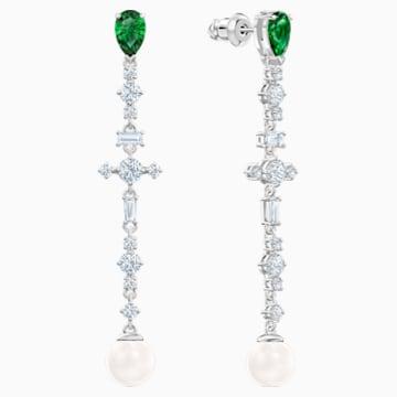 Pendientes Perfection, verde, Baño de Rodio - Swarovski, 5493098