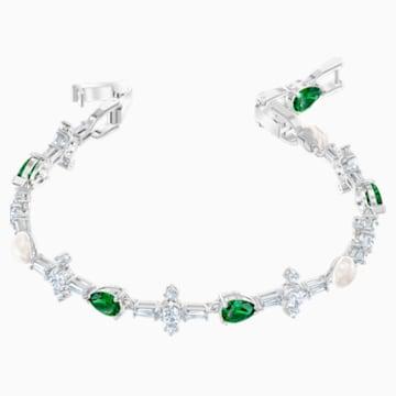 Perfection Bracelet, Green, Rhodium plated - Swarovski, 5493102