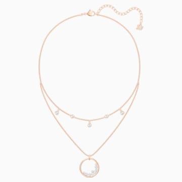 Collar North, blanco, Baño en tono Oro Rosa - Swarovski, 5493390