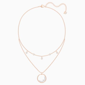 Collier North, blanc, Métal doré rose - Swarovski, 5493390