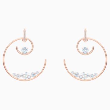 North 穿孔耳環, 白色, 鍍玫瑰金色調 - Swarovski, 5493391