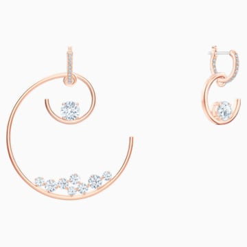 North Hoop Pierced Earrings, White, Rose-gold tone plated - Swarovski, 5493391
