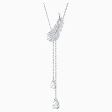 Nice Y形項鏈, 白色, 鍍白金色 - Swarovski, 5493397