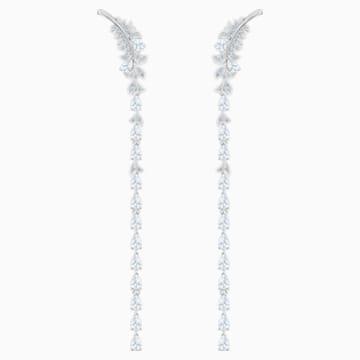 Nice 穿孔耳環, 白色, 鍍白金色 - Swarovski, 5493406