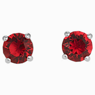 Pendientes de botón Attract, rojo, Baño de Rodio - Swarovski, 5493979