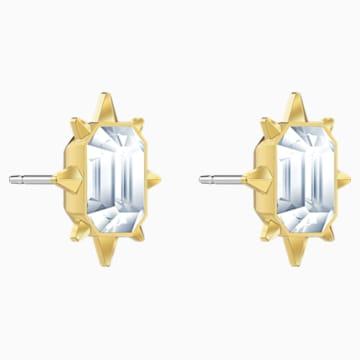Pendientes de botón Tarot Magic, blanco, Baño en tono Oro - Swarovski, 5494019