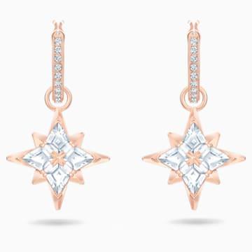 Pendientes de aro Swarovski Symbolic Star, blanco, Baño en tono Oro Rosa - Swarovski, 5494337