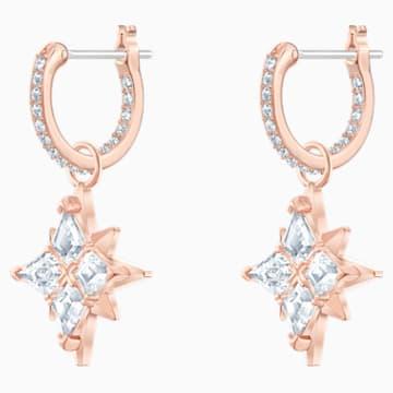 Swarovski Symbolic Star Hoop Pierced Earrings, White, Rose-gold tone plated - Swarovski, 5494337