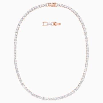 Naszyjnik Tennis Deluxe, biały, w odcieniu różowego złota - Swarovski, 5494607