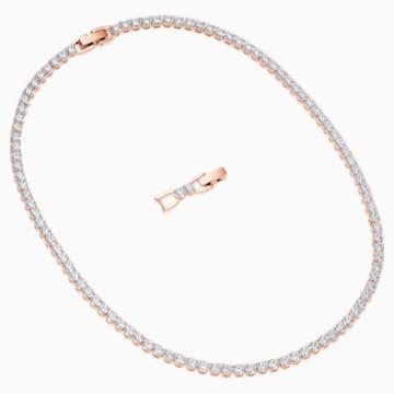 Collier Tennis Deluxe, blanc, Métal doré rose - Swarovski, 5494607